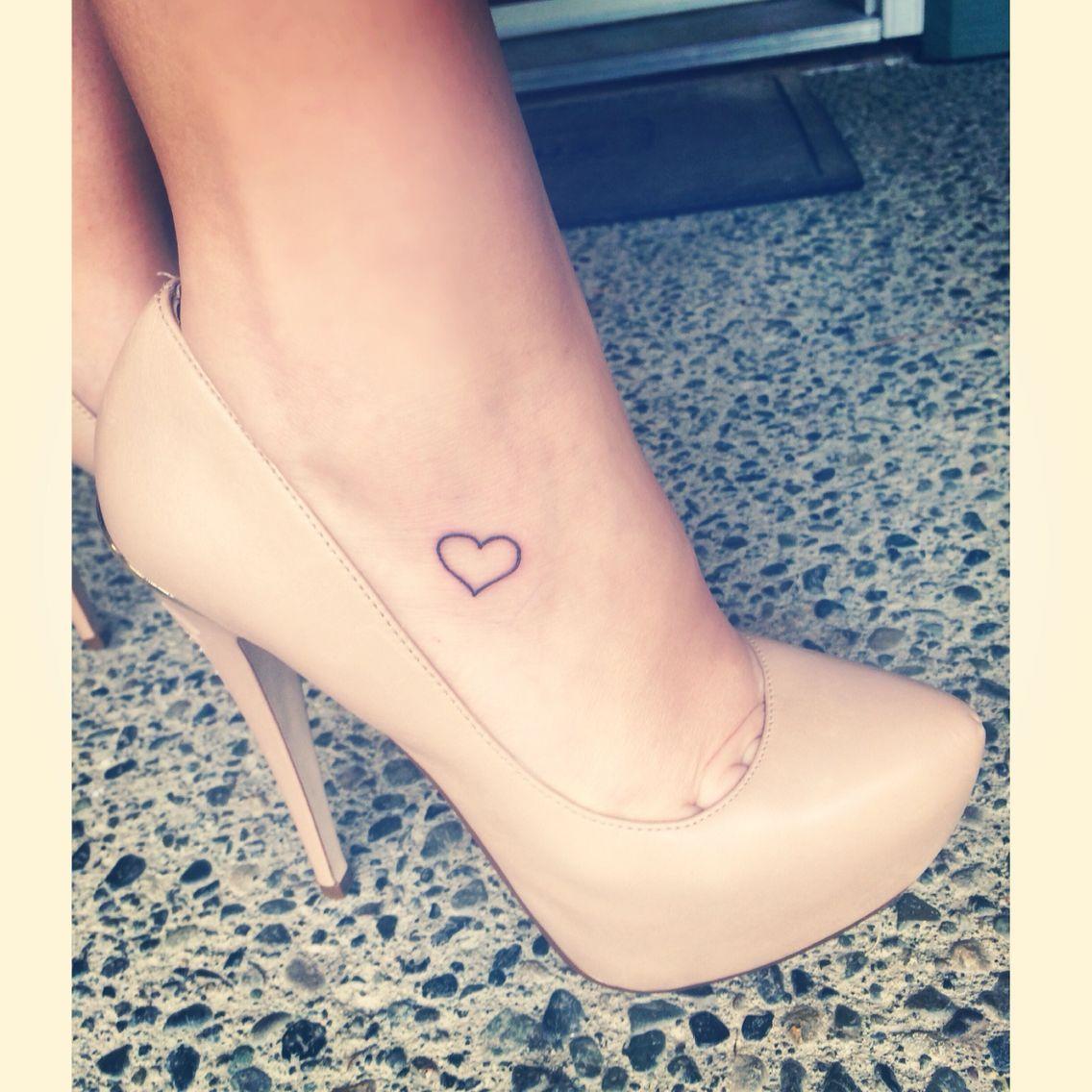 59e48786a Small heart tattoo on foot   tattoos   Feet tattoos, Small heart ...