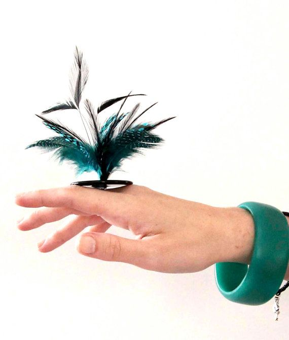 Feather Statement Ring Ceramic  big bold oversized by StudioLeanne, $35.00