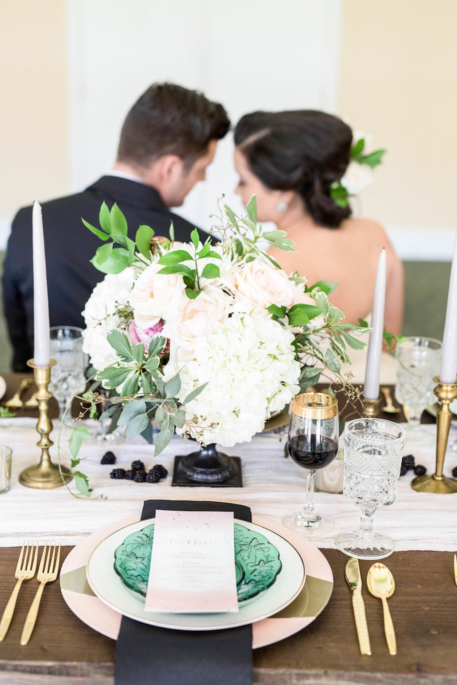 Modern, Vintage Emerald Green, Black and Blush Styled Wedding Shoot ...
