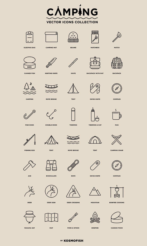 Camping 40 Free Vector Icons Visitenkarten Co