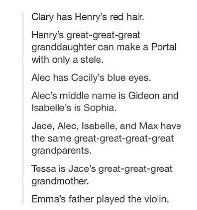 """This is so weird. Tessa can walk up to Jace, looking 18, and be like, """"hey, I'm your great-great-great grandma, how's that"""" and he'll be like, """"wut"""""""