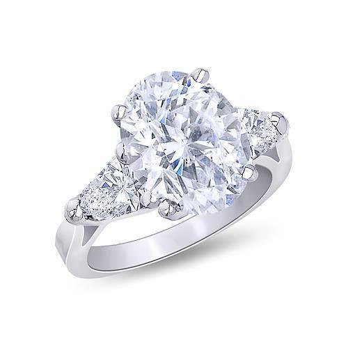 Photo of White Gold 18K Oval Cut Center 3.00 Carat Diamond Ring 3-Stone Jewelry Ring