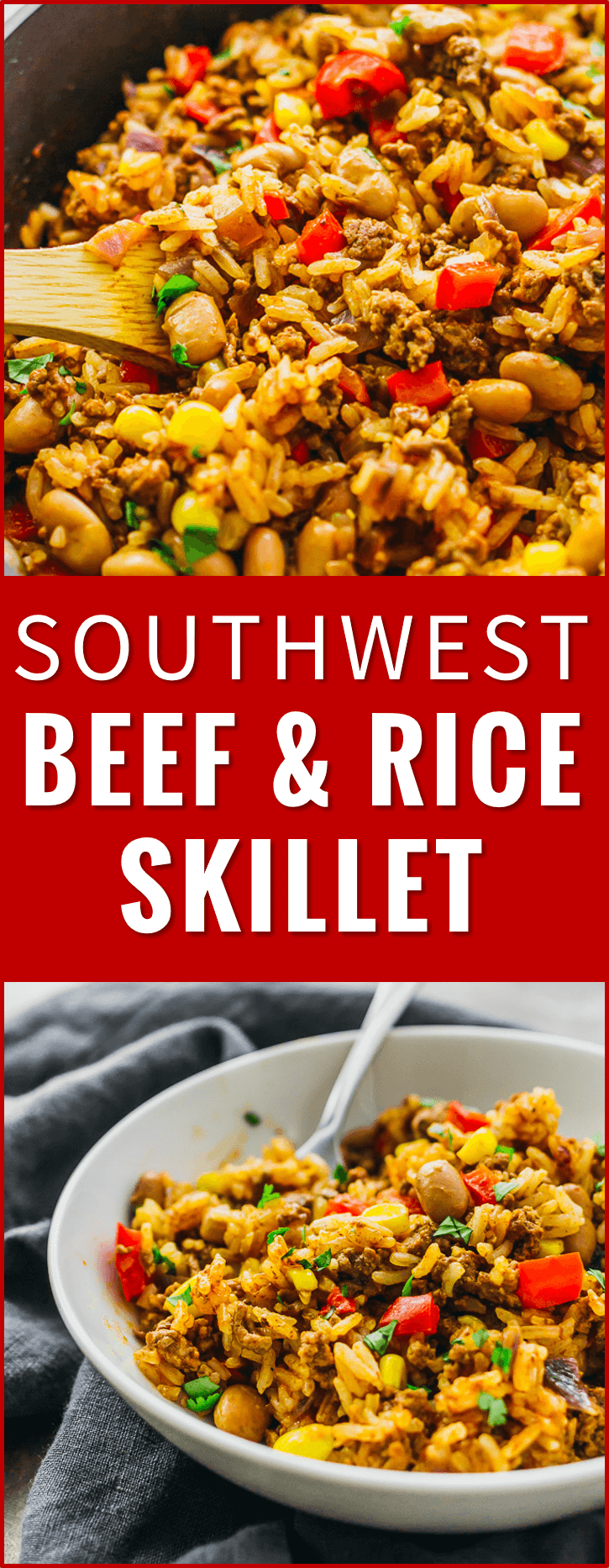 Southwest Beef And Rice Skillet This Tasty Southwest Skillet Has Ground Beef Rice Peppers Onions Pint Beef Recipes Easy Beef Recipes Healthy Meat Recipes