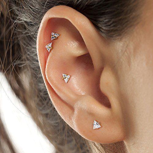Mobody 2pcs Labret Piercing Studs Set 16g Crystal Clear Cz Internally Threaded Monroe Lip Ring Helix Earring Ad Set Labret Cartilage Stud Labret Piercing
