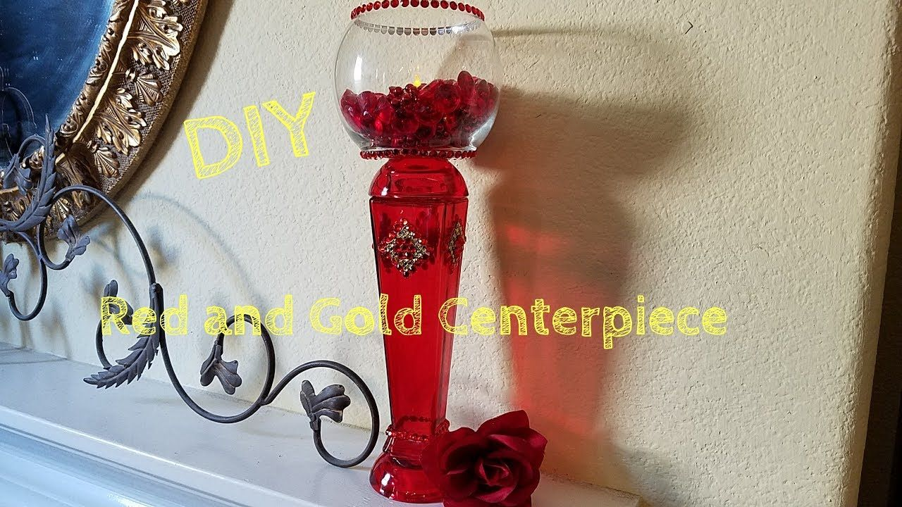 DIY DOLLAR TREE/ RED & GOLD CENTERPIECE | Wedding floral centerpieces, Tea  lights centerpieces, Wedding table centerpieces
