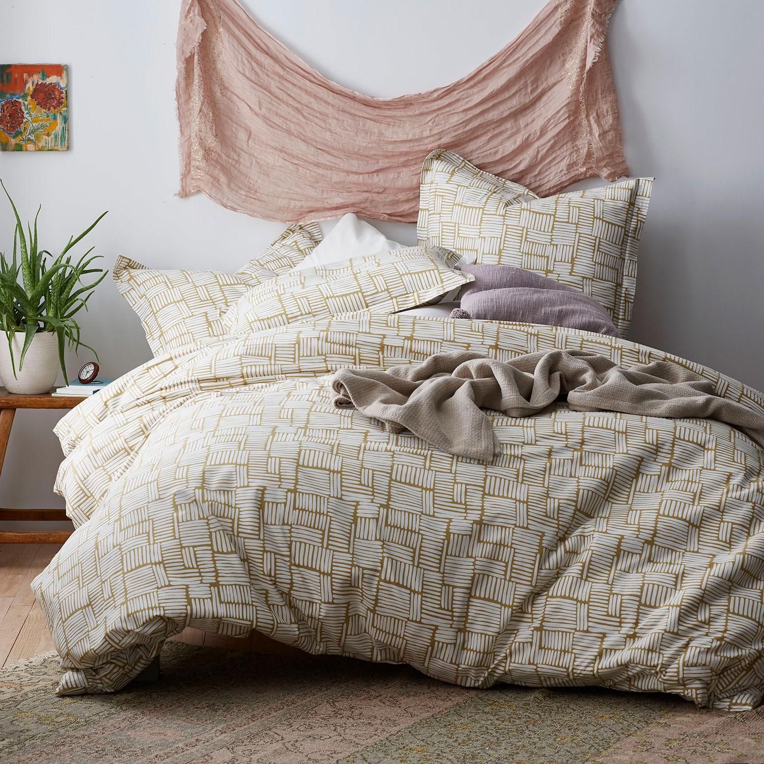 Cstudio Home Ticking Marks Organic Cotton Percale Duvet Cover Set
