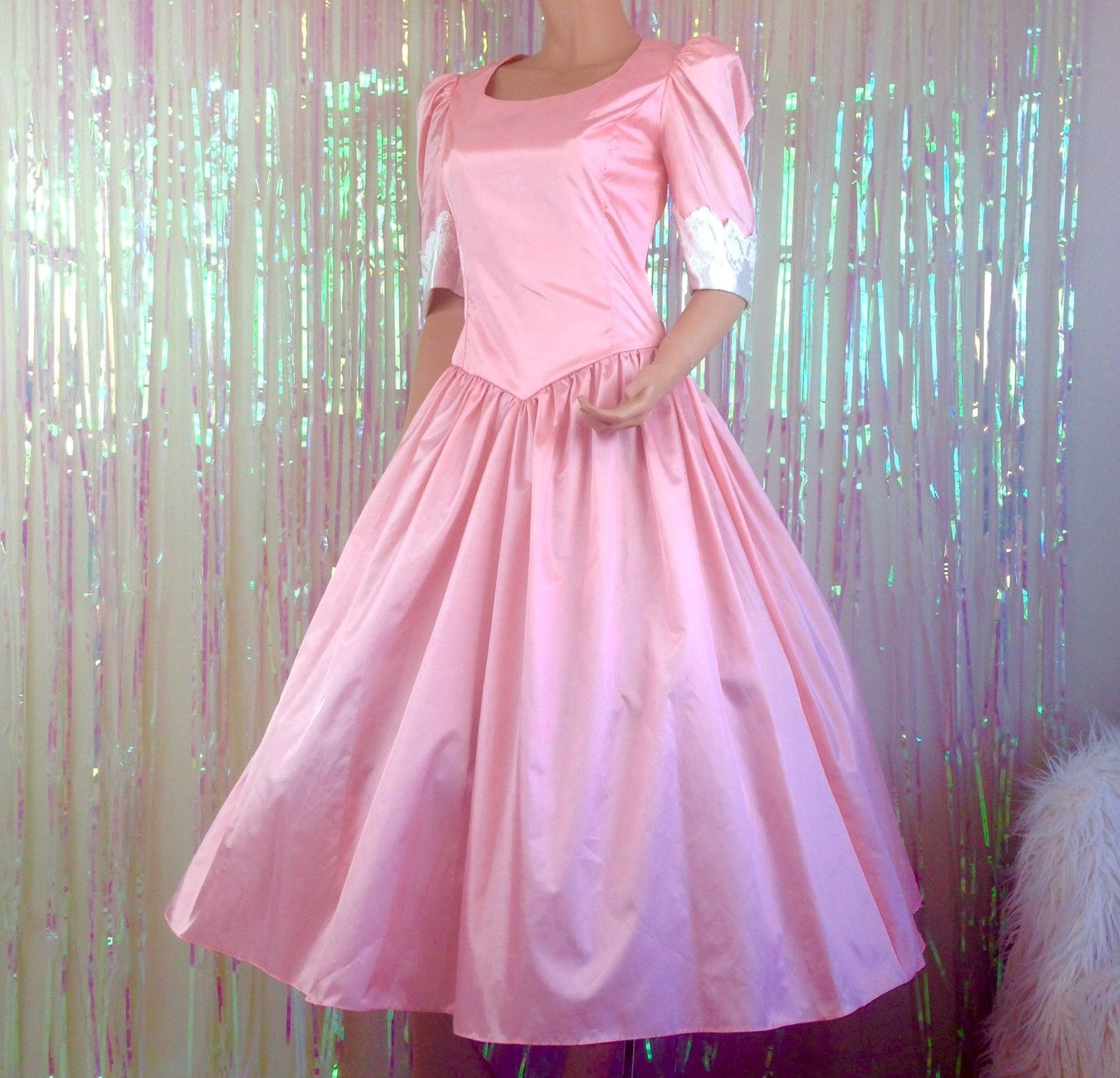 Vintage 80s pink prom dress long costume modest 1980s womens