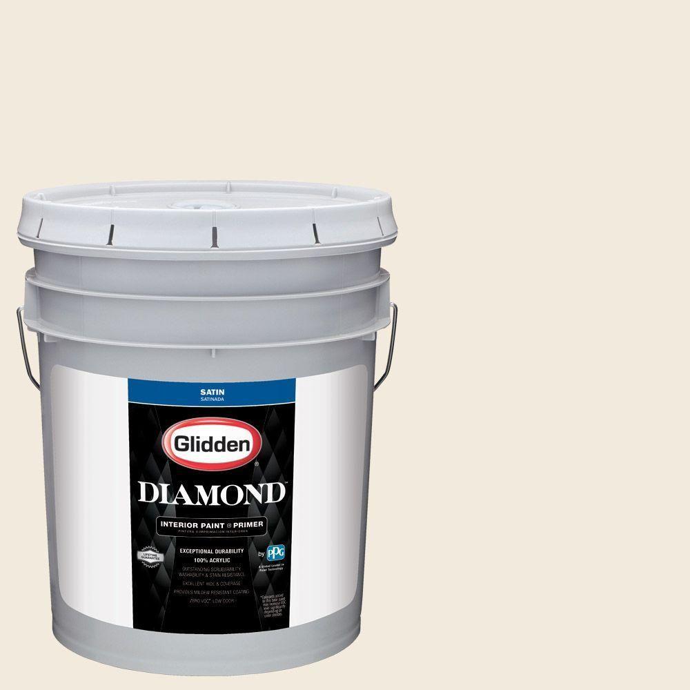 Glidden Diamond 5 Gal Hdgo56u Pebble White Satin Interior Paint With Primer