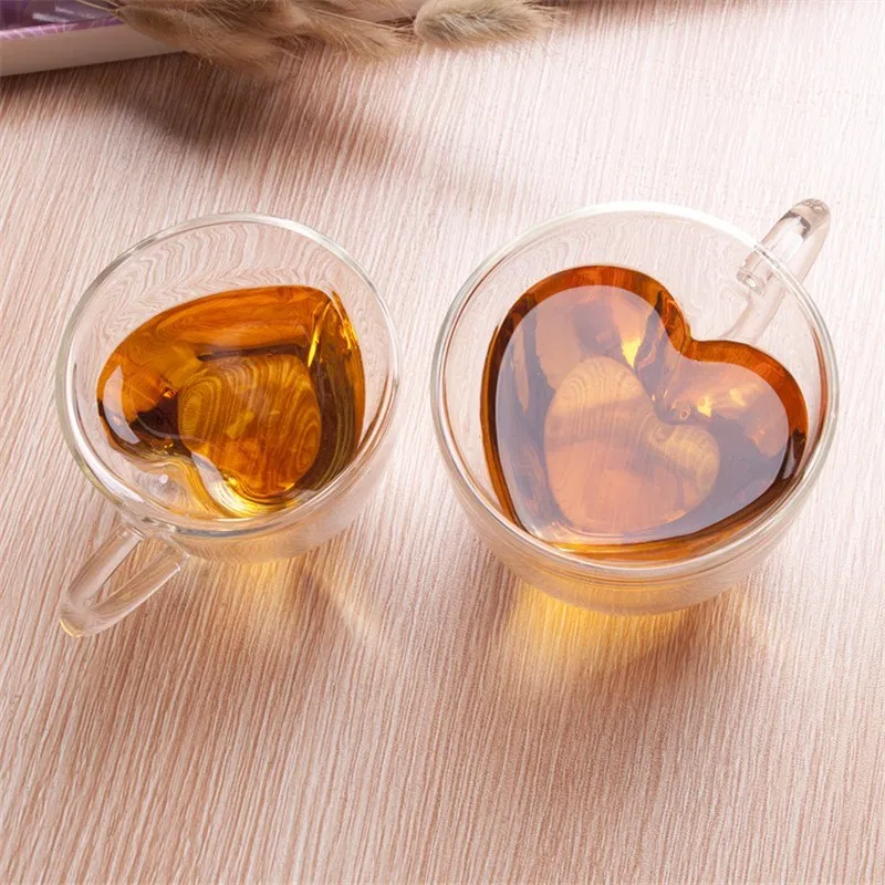 Heart Love Shaped Double Wall Glass Mug Resistant Kungfu Tea Mug Milk Lemon Juice Cup Drinkware Lover Coffee Cups Mug Gift Negamy Glass Tea Cups Glass Coffee Mugs Glass Tea