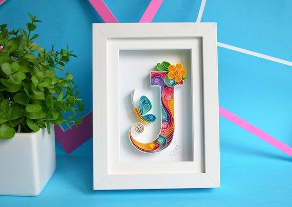 J - Quilling wall paper art - Letter J - Paper art...