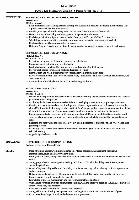 Retail Store Manager Resumes Elegant Sales Manager Retail Resume Samples Project Manager Resume Server Resume Resume Examples