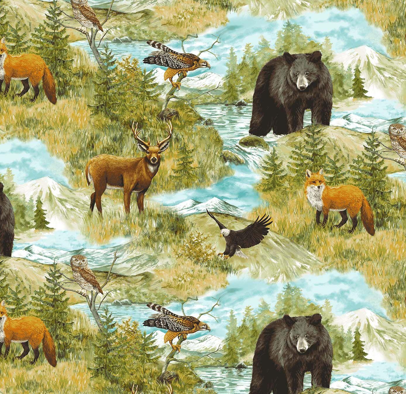 Elizabeth/'s Studio Woodland Bear Deer Fox Families Patch 1 Yard Cotton Fabric