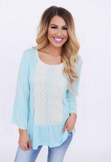 Crochet Front Bell Sleeve Top- Mint - Final Sale