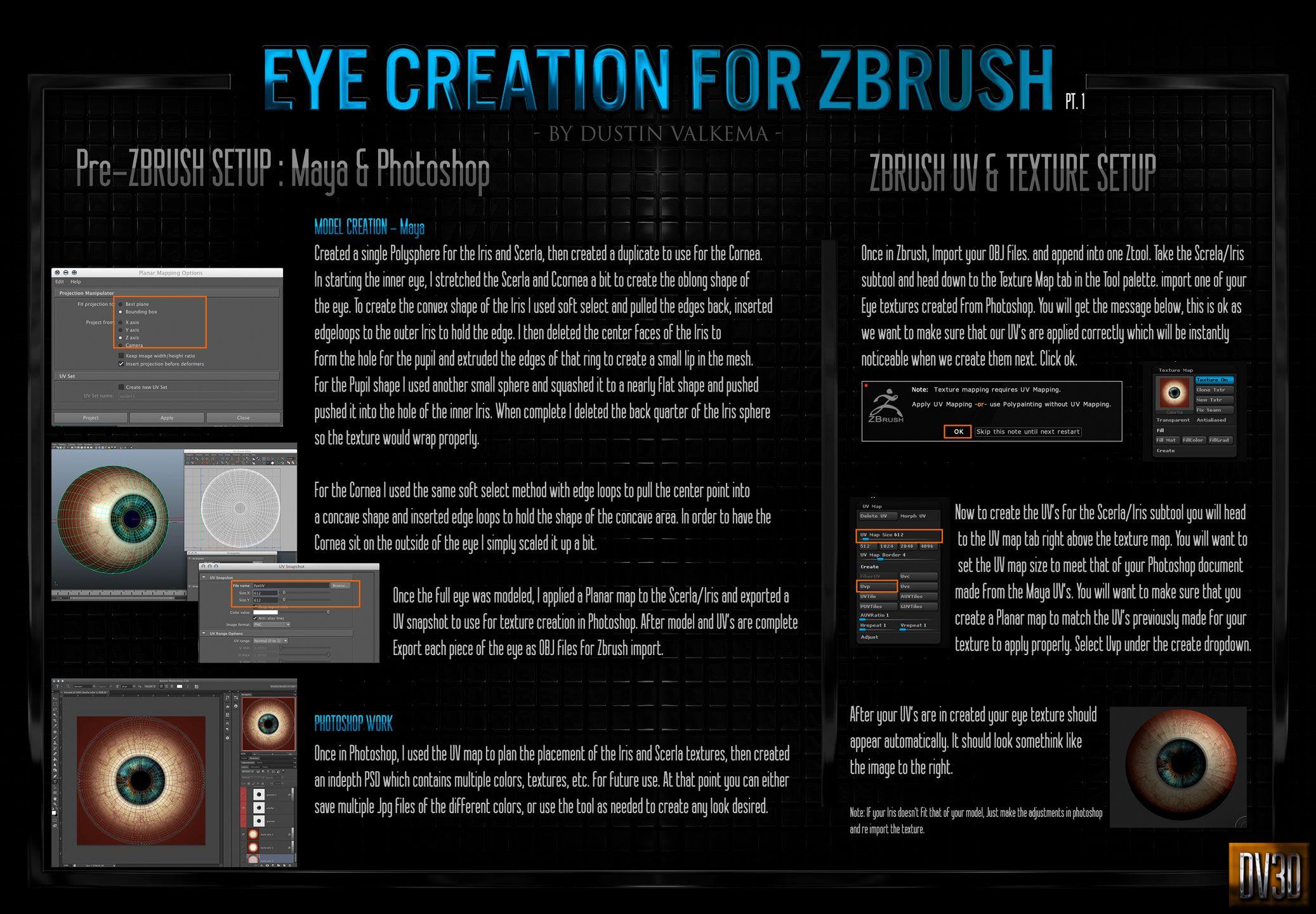 Eye Creation tutorial for ZBrush