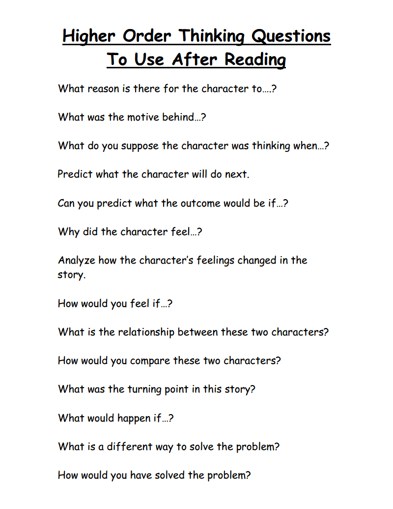 Worksheets Questions For Kindergarten higher order thinking questions to use after reading pdf pdf