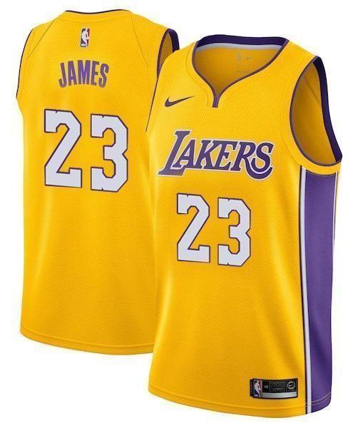 72fa63feedf9 Men 23 Lebron James Jersey Yellow Los Angeles Lakers Swingman Jersey ...