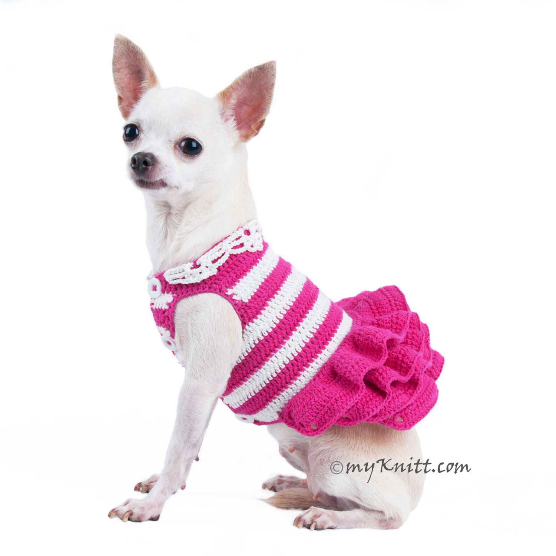 Pink Crochet Dog Wedding Dress Striped White Fluffy Skirt Spring ...