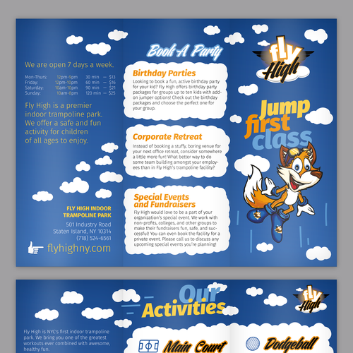 Create An Exciting Brochure For Nyc S First Indoor Trampoline Park Postcard Flyer Or Print Contest Postcard Flyer Print Design