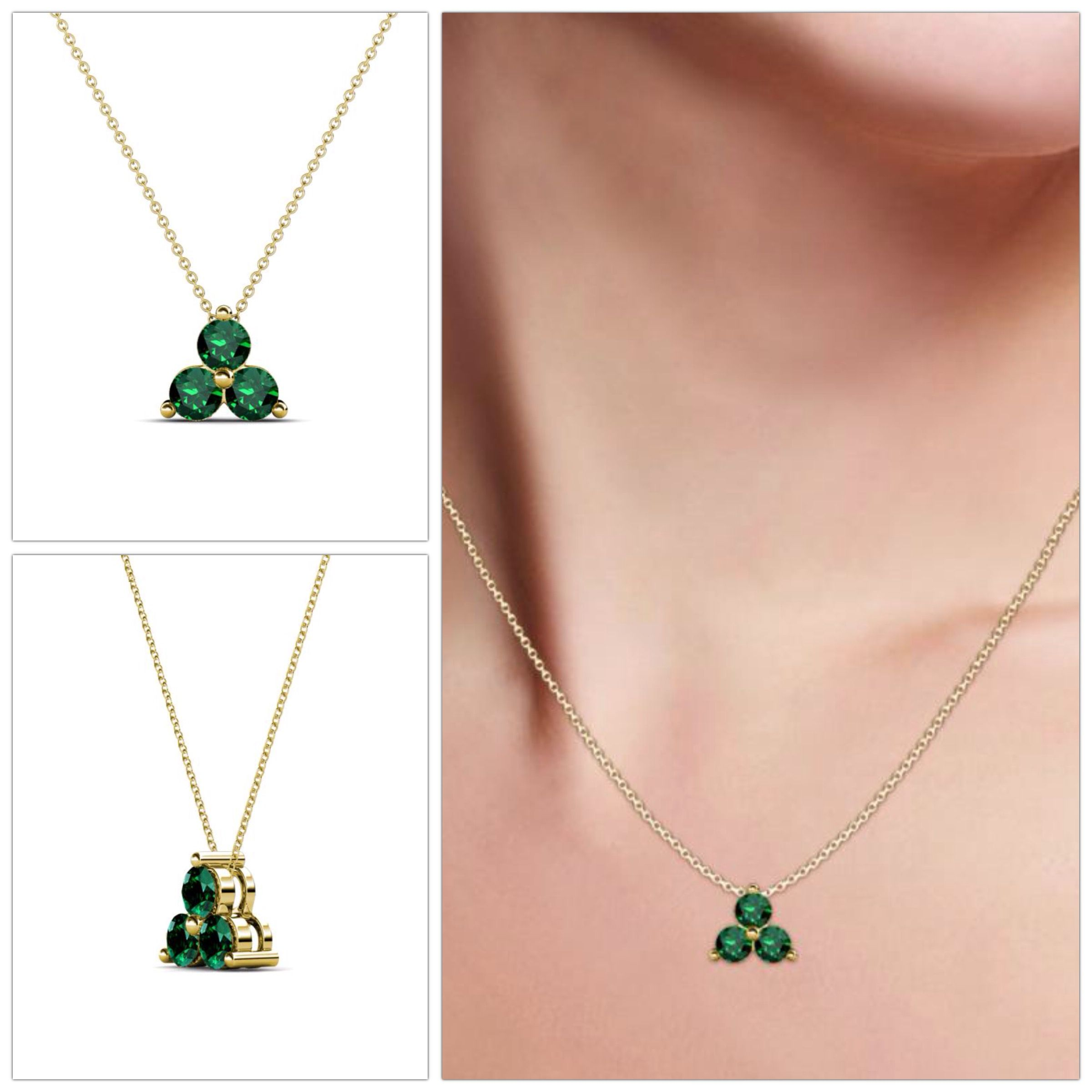 bead emerald with pendant image besemeh necklace products pendent stone multi color cz