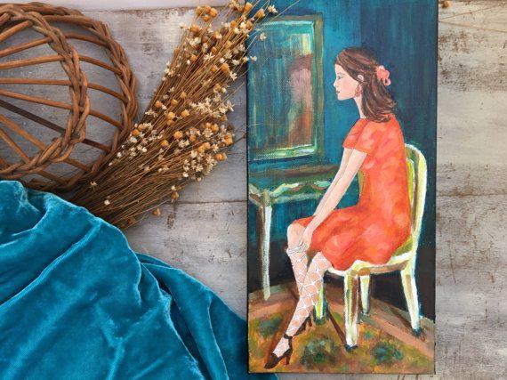 Woman Art Lady In Dressing Room Feminine Art Painting by luckduck