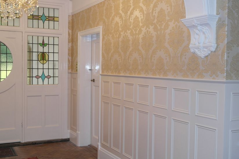 Chair Rail Kent Part - 30: Wall Panels With Original Skirting With Heritge Style Wall Panels And Extra  Height Dado Rail.