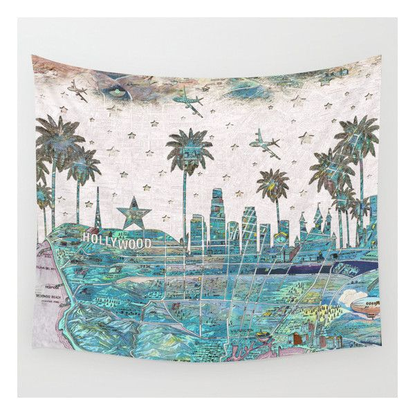 Los Angeles Skyline Vintage Map Wall Tapestry ($39) ❤ liked on ...