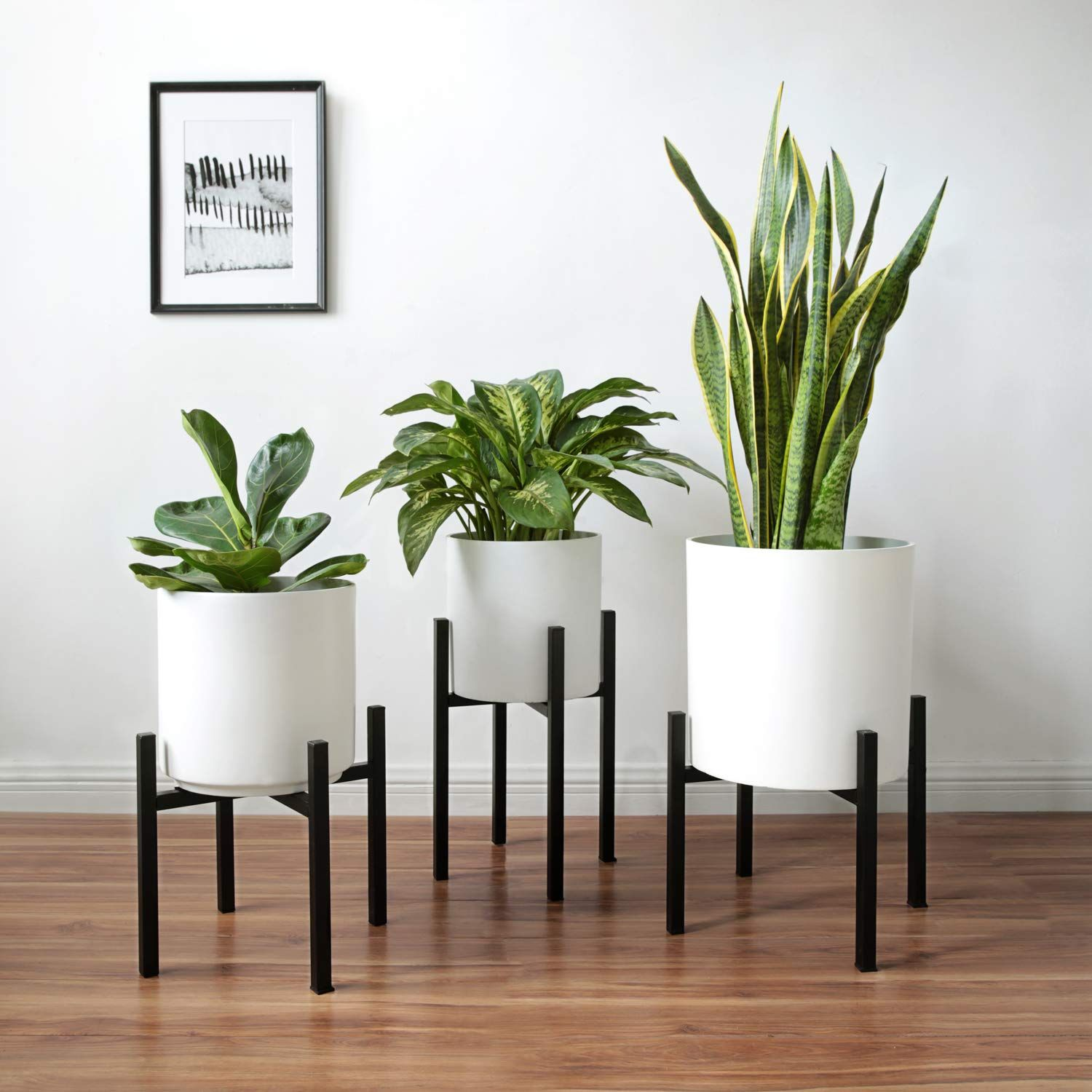 Amazon Com Mkono Plant Stand Mid Century Modern Tall Flower Pot Stands Indoor Outdoor Metal Potted Plant Holder Plant Plant Holders Tall Flowers Flower Pots