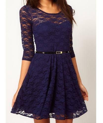 Vestido de blonda azul