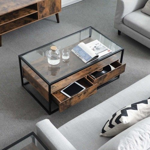 Photo of Industrie-Design Couchtisch Glas