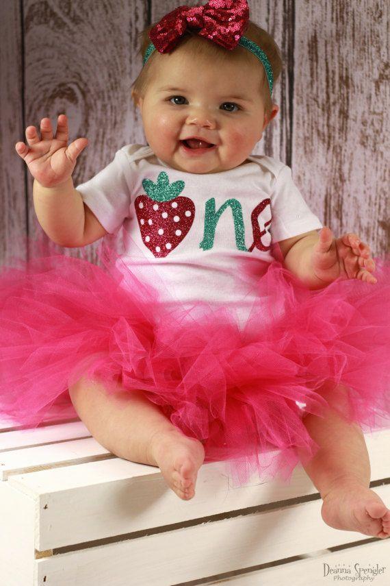 87c6e0af3fc6 Strawberry Birthday Outfit Girl l Strawberry 1st Birthday