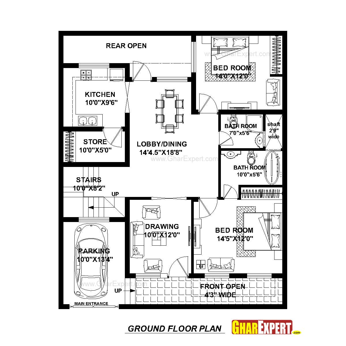 House Plan For 37 Feet By 45 Feet Plot Plot Size 185 Square Yards Gharexpert Com 2bhk House Plan Low Cost House Plans Model House Plan
