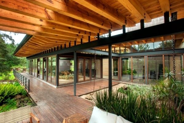 Captivating Flat Roof Modern Wooden House In The Middle Of A Forest Of Mexico