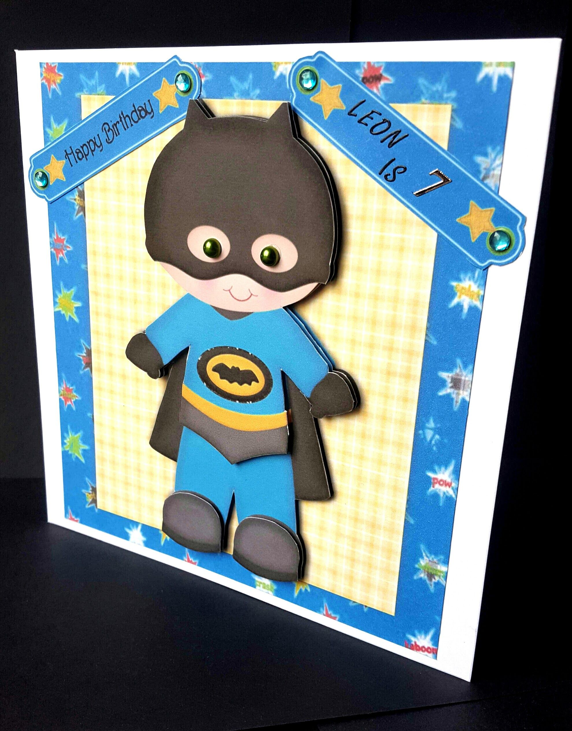 Kid Batman Boy Birthday Card 7 Front Handmade By Sheila Jones