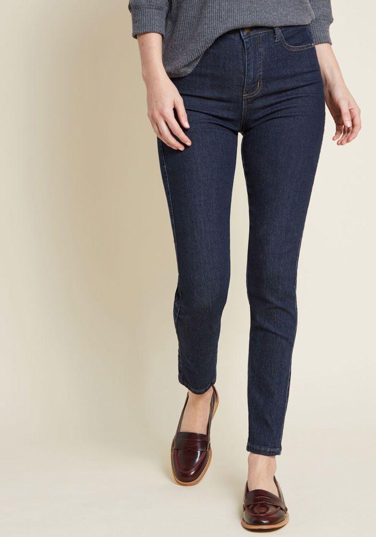0013abbf18a2 Karaoke Seamstress Zipped Skinny Jeans in Dark Wash - 30 in. in 10 - Skinny  Denim Pant Ankle by ModCloth