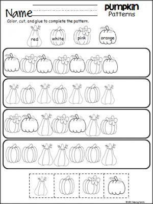 Pumpkin Patterns Worksheet  Worksheets Kindergarten And Patterns
