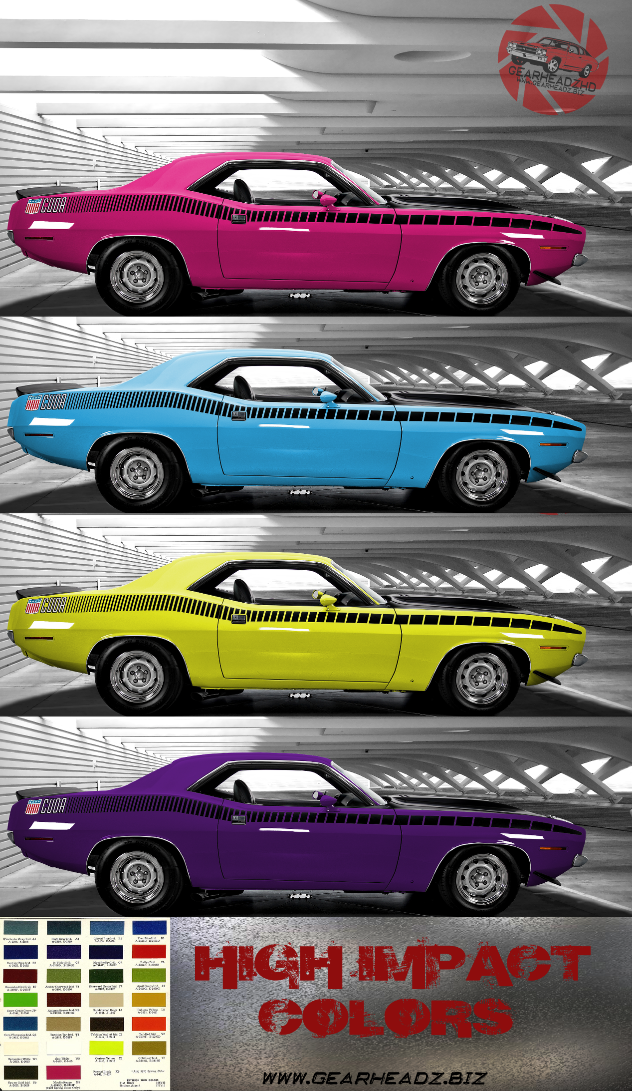 1970 u0027cuda aar with mopar high impact color matching from plum