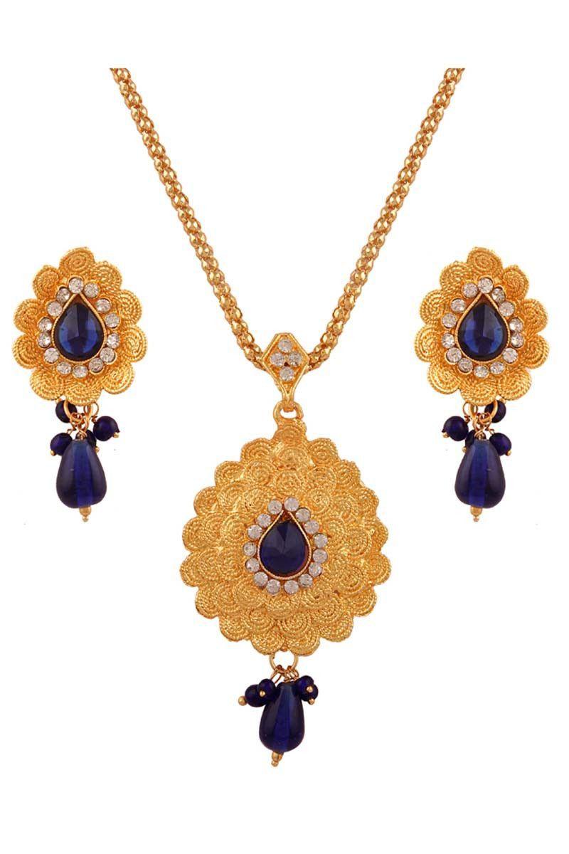 Dark blue gold plated floral design beaded pendant set for women