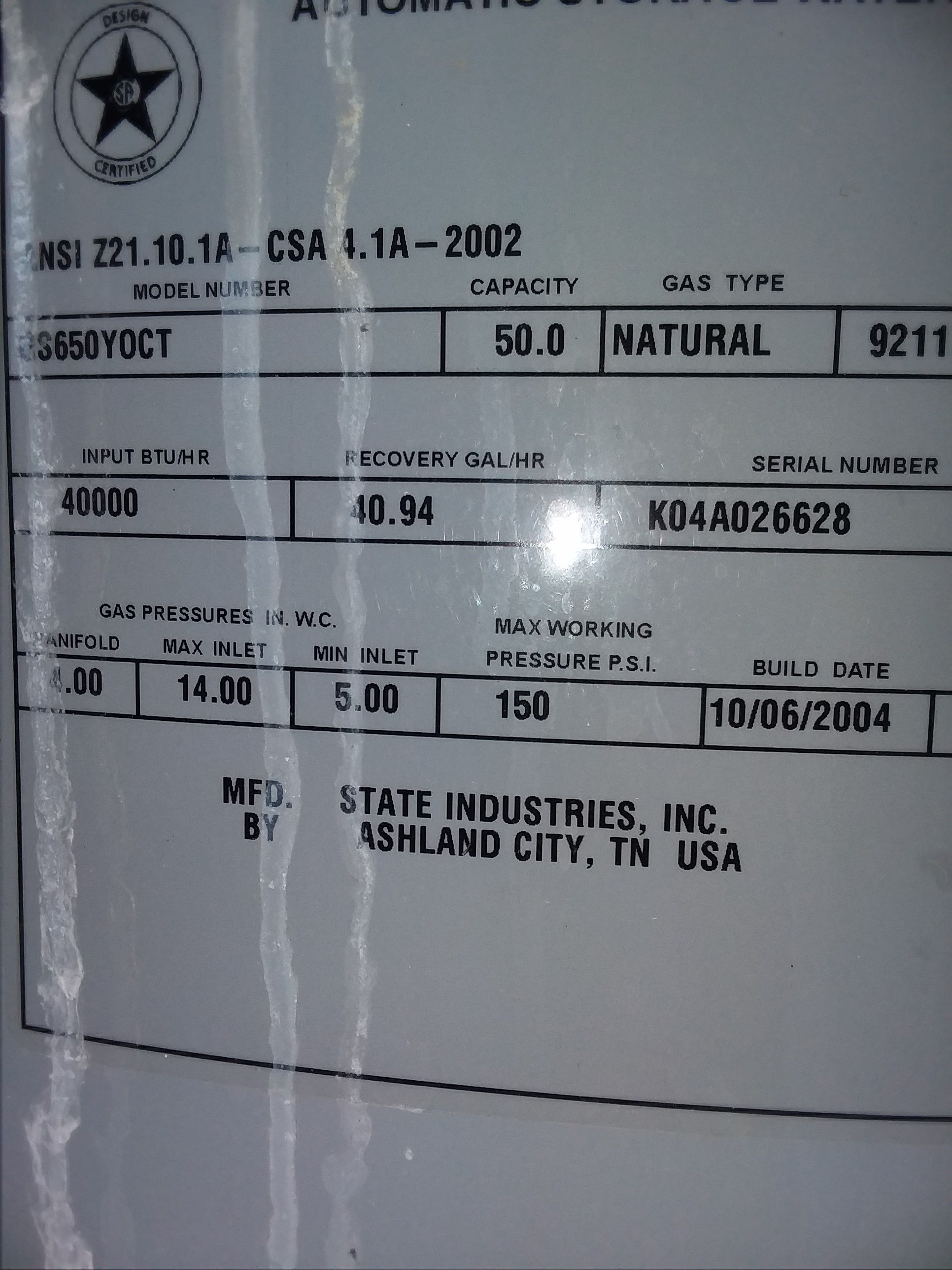 Water Heater Rating Plates And Their Importance San Diego Water Heaters Water Heater Water Heater Service Heater