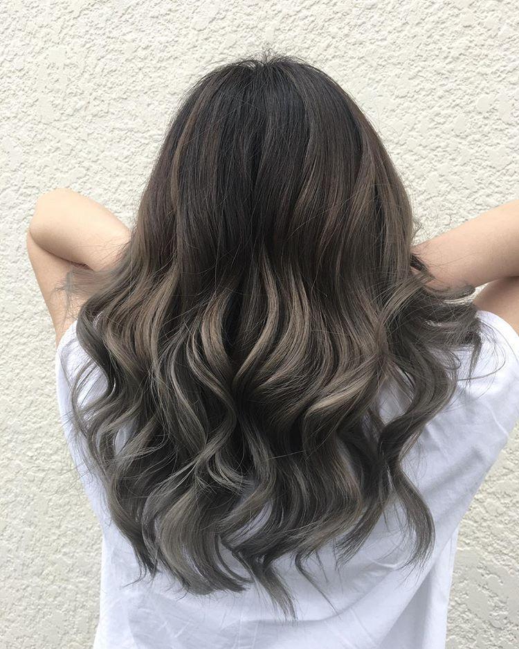 Ash Brown For The Top And Silver Grey For Bottom Ashbrown Ashbrownhair Greyhair Greyhaircolor Gr Balayage Hair Grey Balayage Hair Dark Baylage Hair