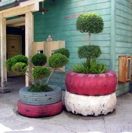 macetas recicladas para el jardin (6) MACETAS Pinterest - maceteros para jardin