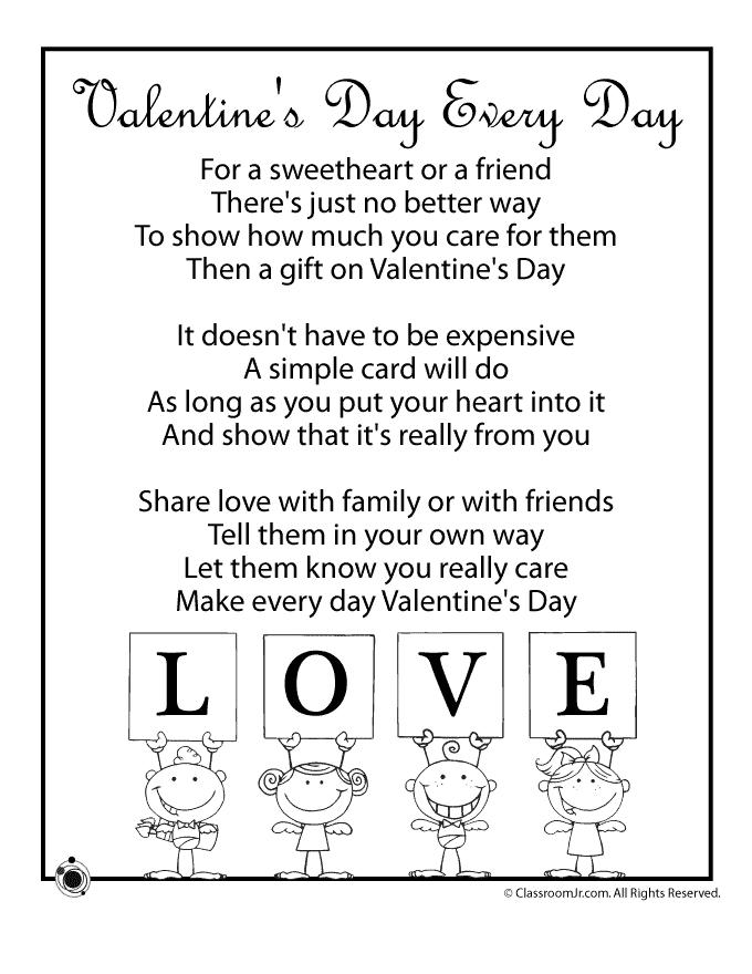 Valentine Kids Poems Valentine S Day Every Day Woo Jr Kids Activities Valentines Day Poems Valentines Poems Kids Poems