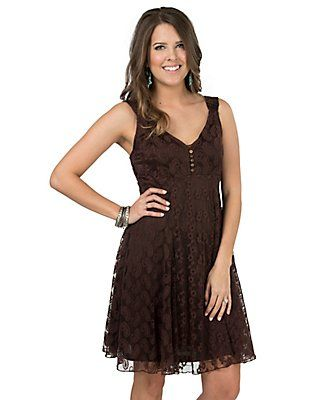 Cowgirl Hardware Womens Prarie Brown Lace Sleeveless Dress