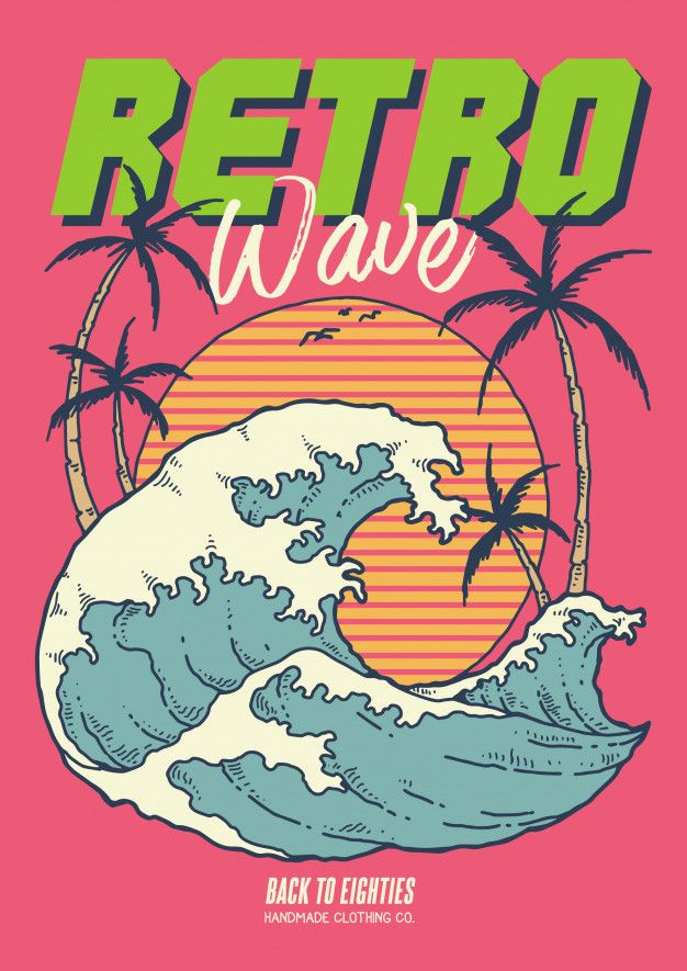 Retro wave 80's illustration with ocean sunset and coconut trees in vintage vector illustration Premium Vector