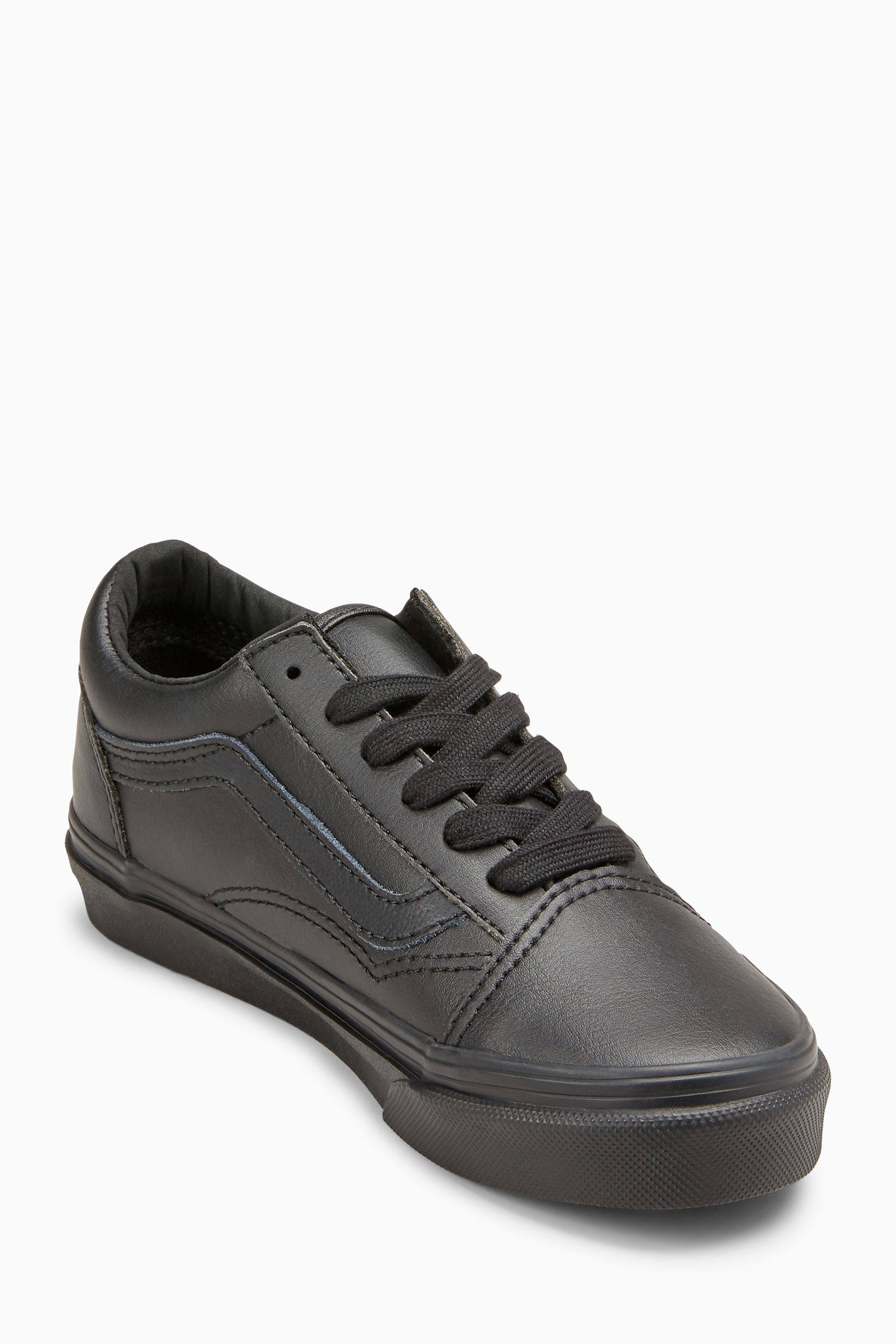 Boys Vans Black Leather Old Skool