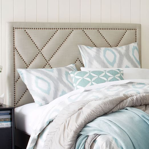 Patterned Nailhead Headboard Upholstered Bedroom Pinterest Adorable Patterned Headboards