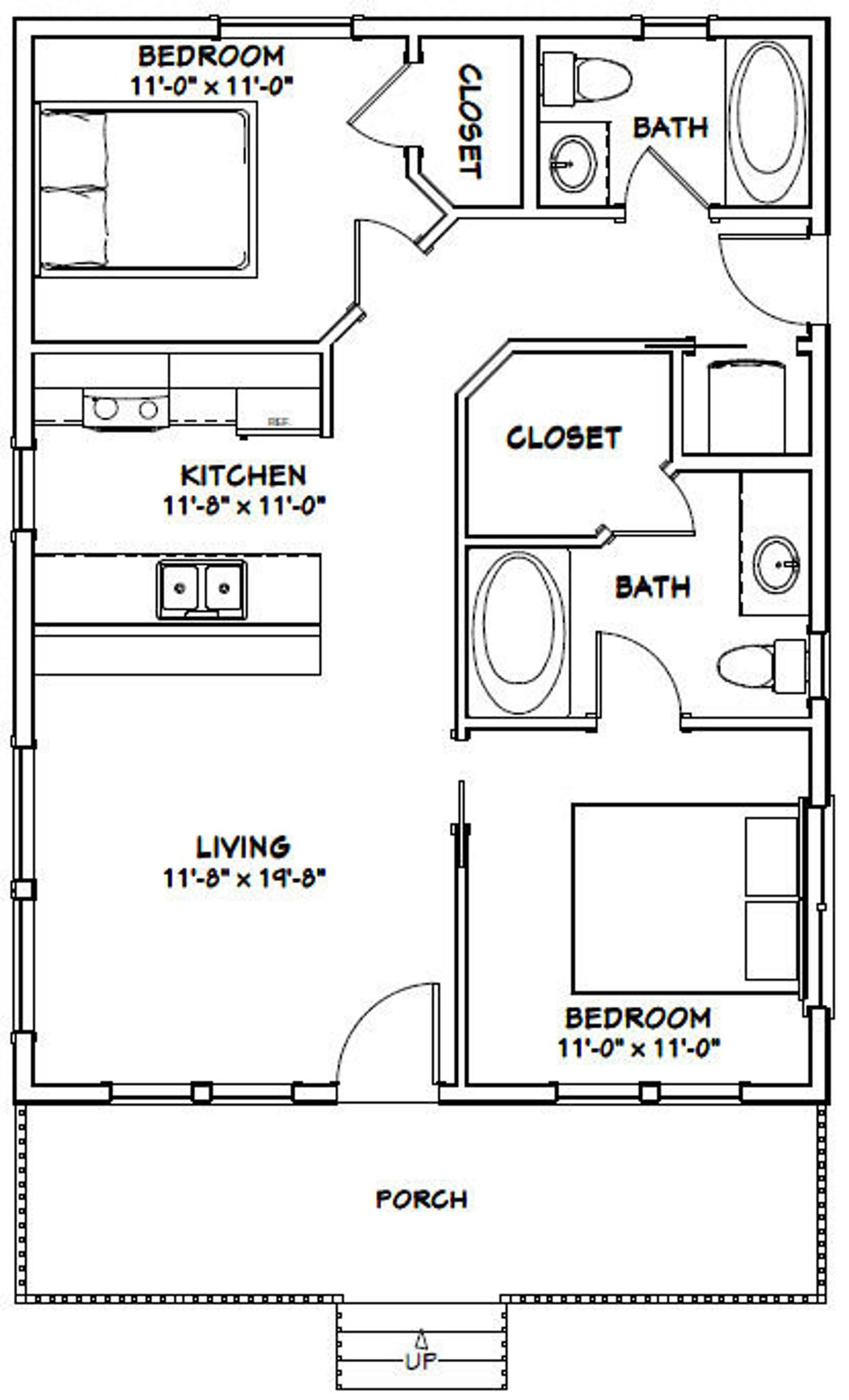24x32 House 2 Bedroom 2 Bath 768 Sq Ft Pdf Floor Plan Instant Download Model 3 Tiny House Floor Plans Small House Plans Tiny House Plans