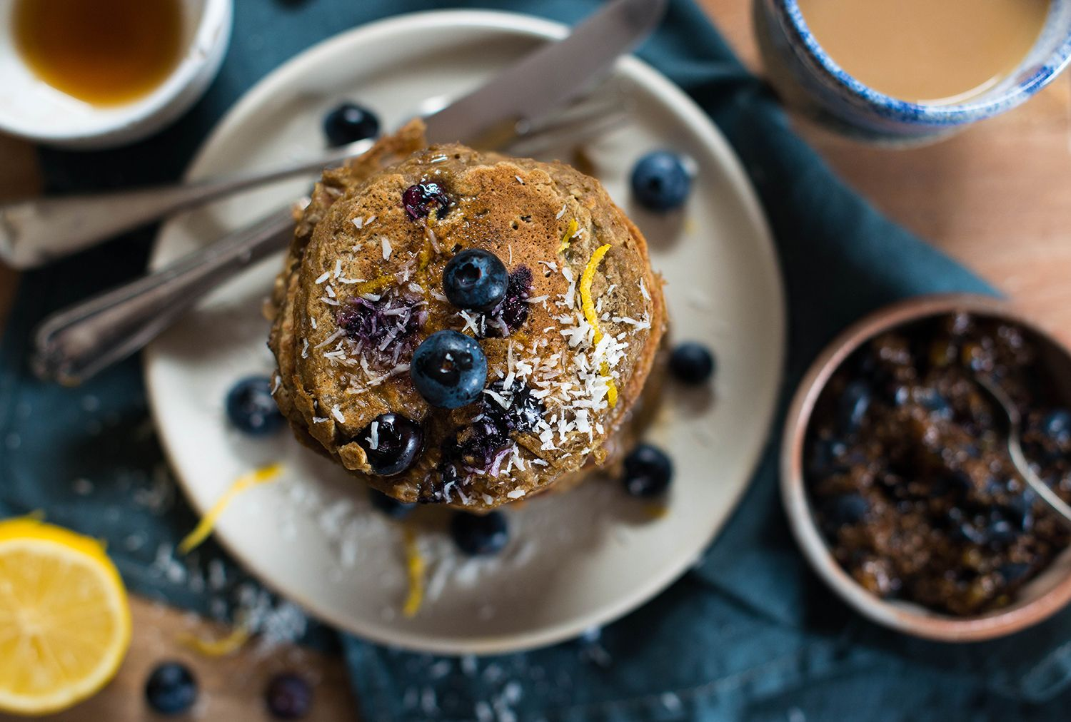 Vegan coconut protein pancakes with blueberries and a blueberry chia jam