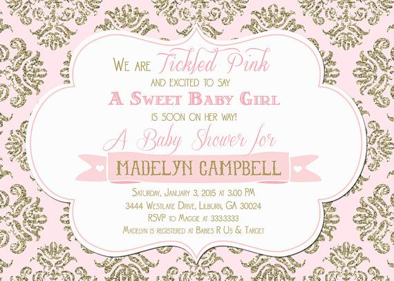 Pink and Gold Damask Glitter Tickled Pink  Baby by PartyPopInvites
