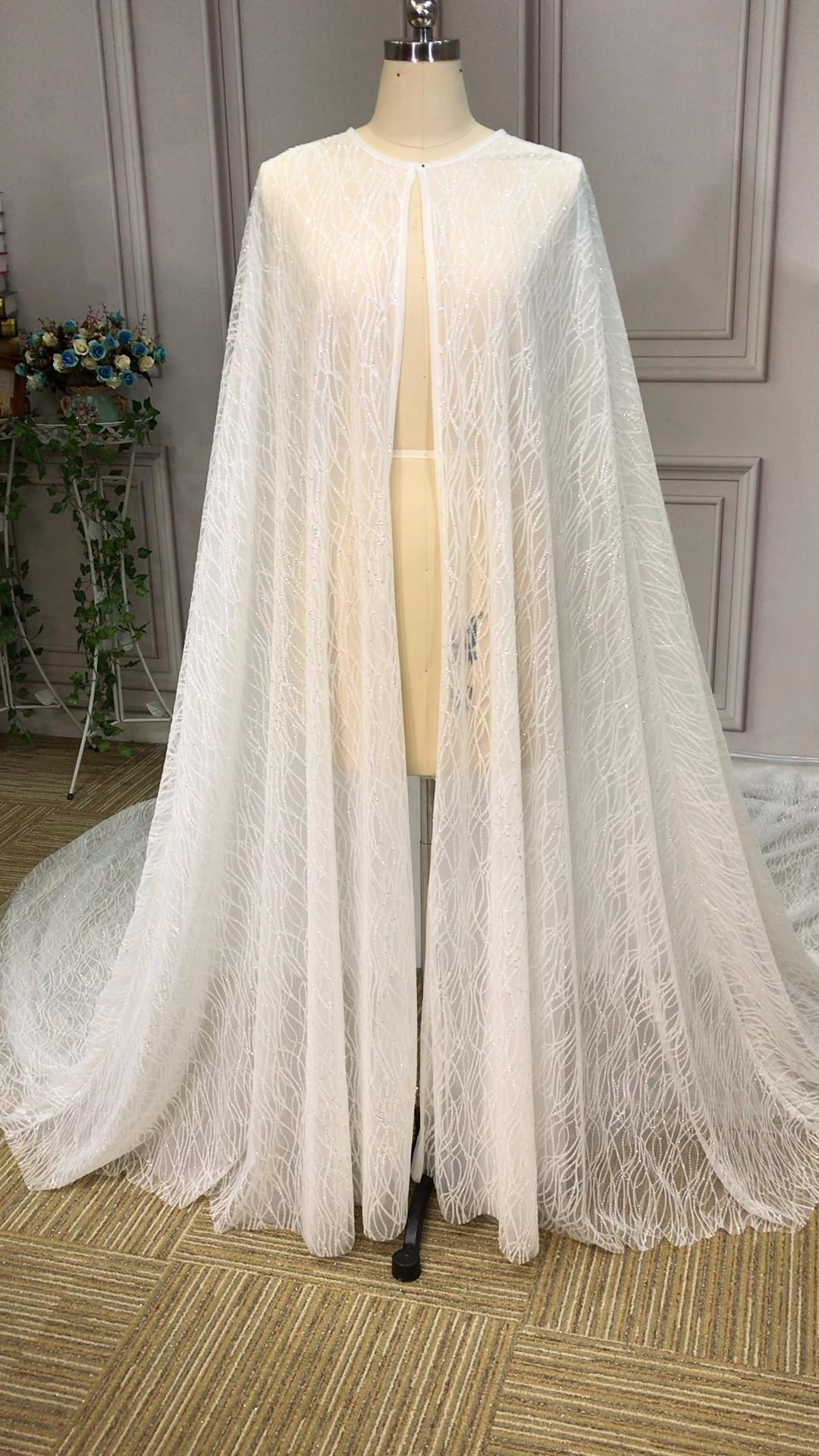Sparkling Glitter wedding cloak long bridal jacket 2020 wedding fashion trends -   style Hijab wedding