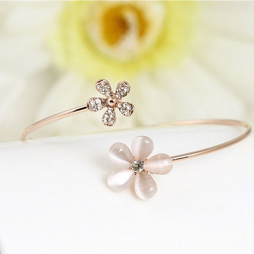Fashion Women Flower Crystal Gold//Silver Plated Cuff Bracelet Bangle Jewelry